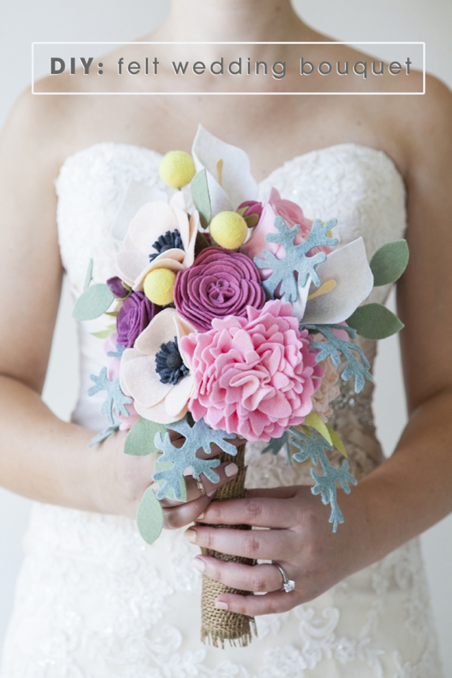 This wedding bouquet is made out of felt flowers - learn how!