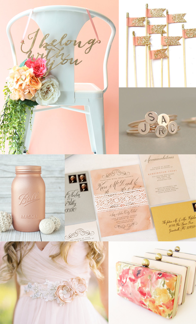 Peach and Gold wedding inspiration... from talented Etsy sellers!