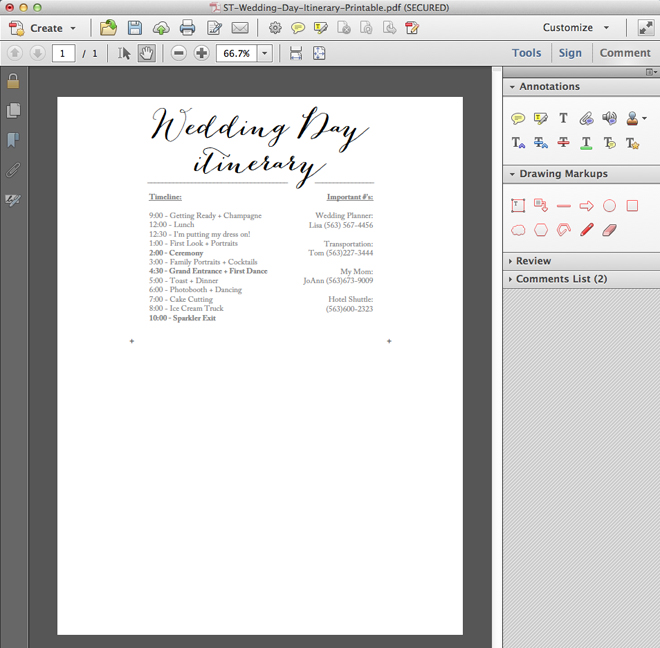 Download edit and print this darling FREE wedding itinerary – Wedding Agenda Template