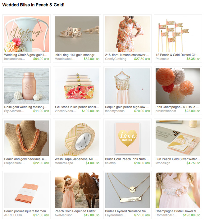 Peach and gold wedding on Etsy