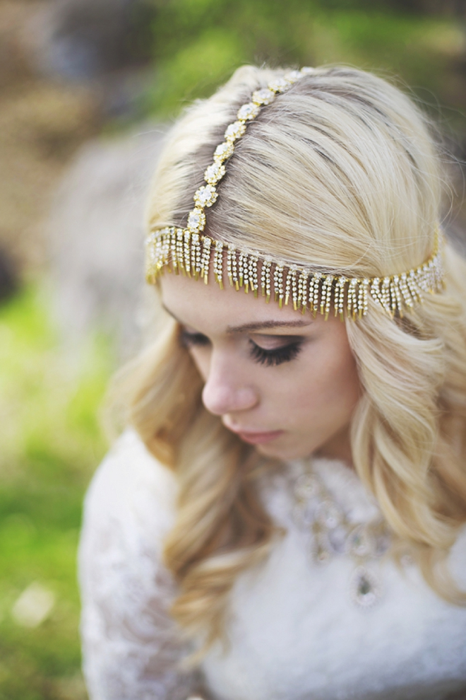 Gold bohemian wedding hair piece