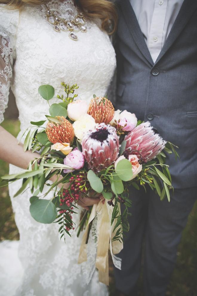 Stunning protea wedding bouquet