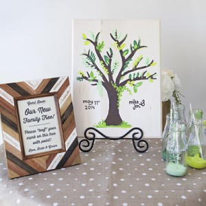 DIY Wedding: painted tree guest book idea!
