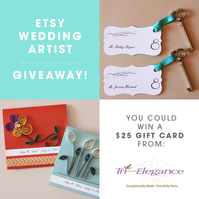 Etsy Wedding Artist Giveaway from Tri~Elegance, you could win $25