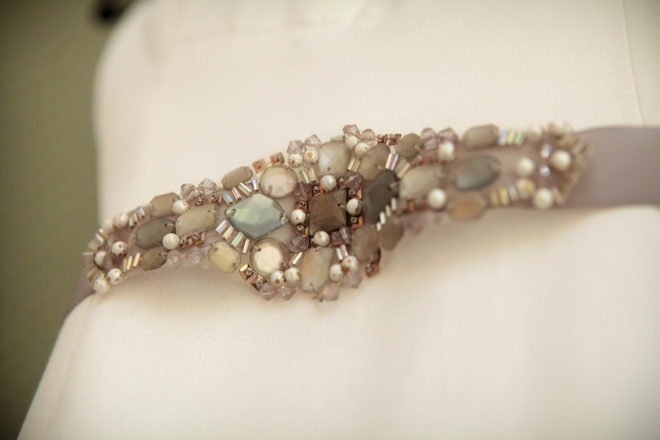 Handmade stone and sequin wedding sash