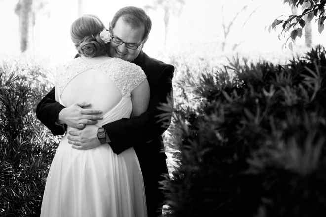 Mr & Mrs embrace