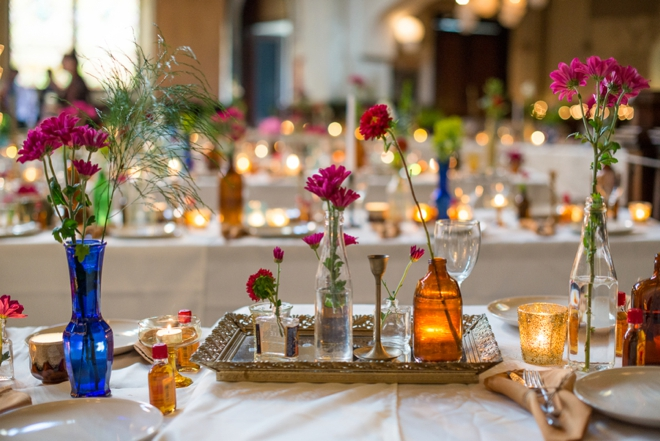 Beautiful, vintage bottle and wildflower wedding decor