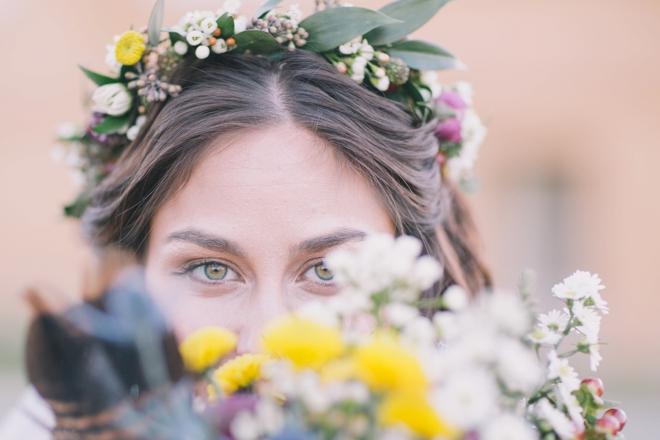 Peeking through flowers