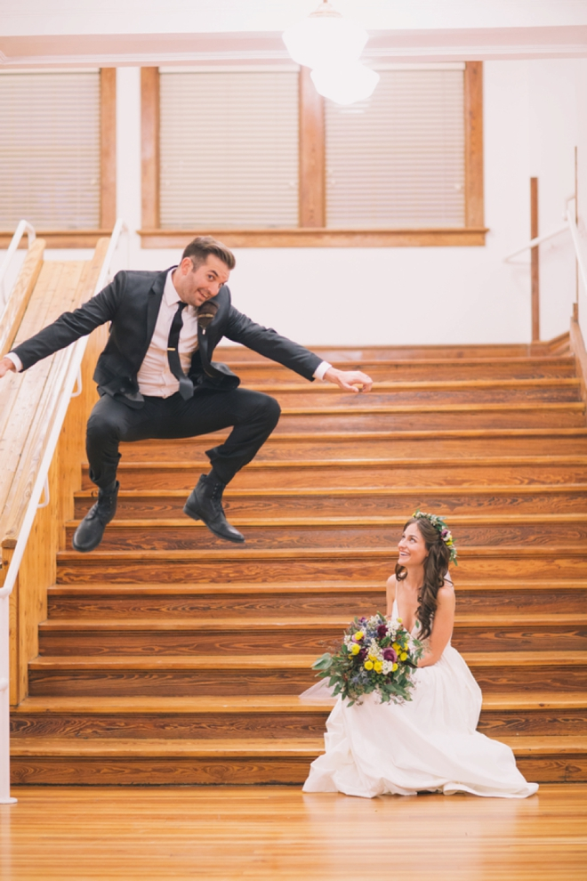The groom is clearly happy that she is now his forever...