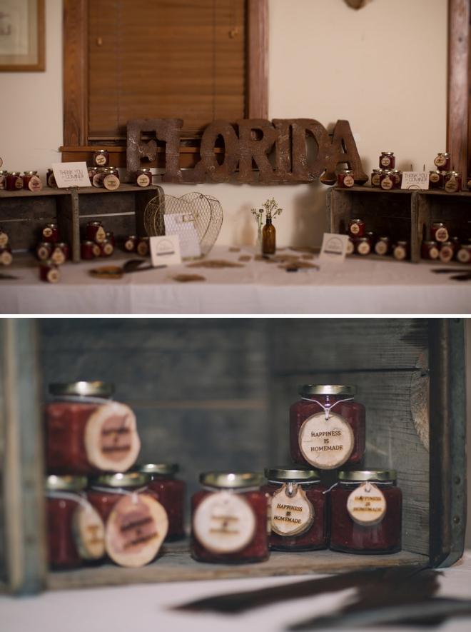 Handmade jam jar favors