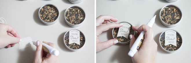 DIY: tea tin wedding favors