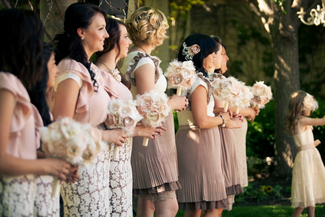 Gorgeous mismatched bridesmaids, mauve, pink and lace!