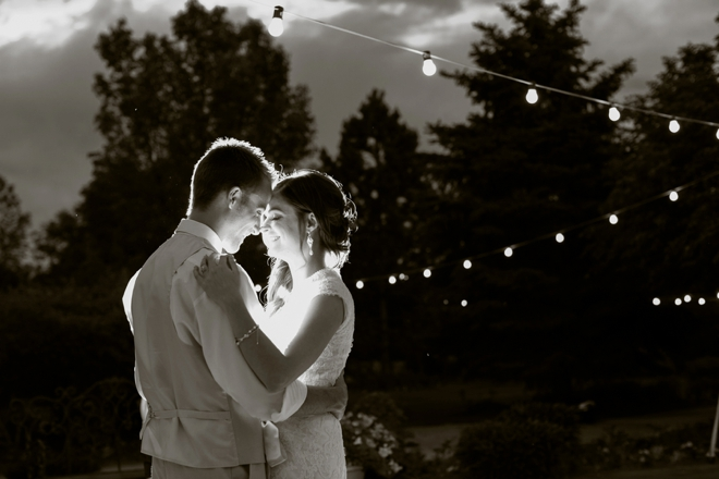 The bride and groom under the moonlight