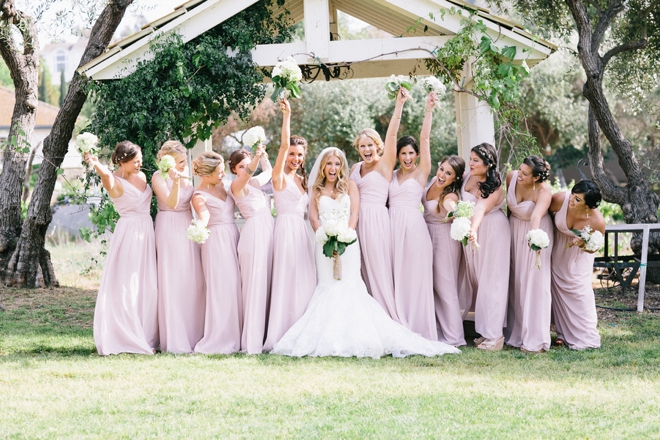 The happy bride and her maids