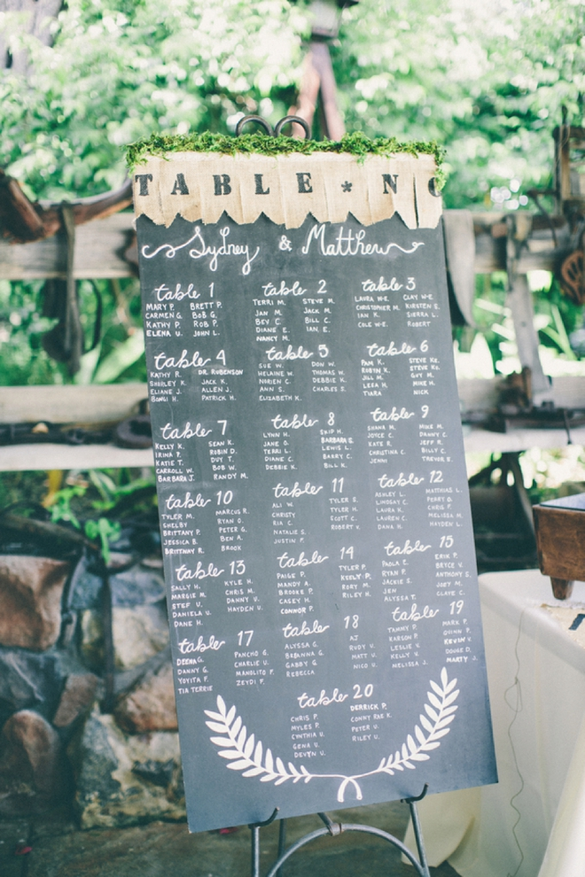 Amazing chalkboard seating chart