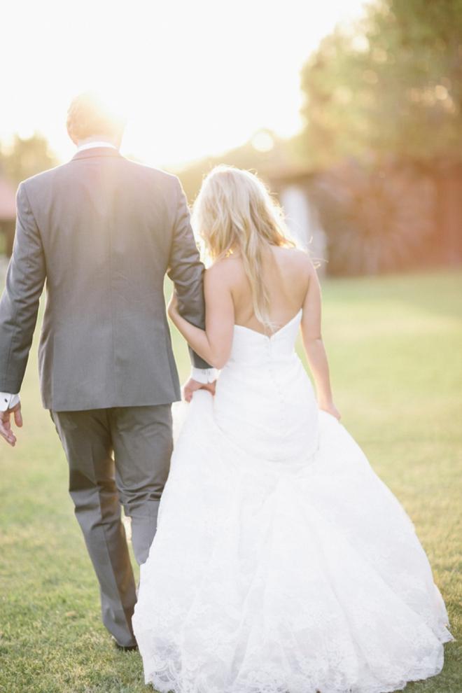 Sunlit bride and groom portrait