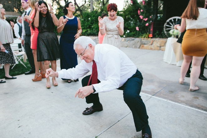 Grandpa is on the dance floor, getting down!