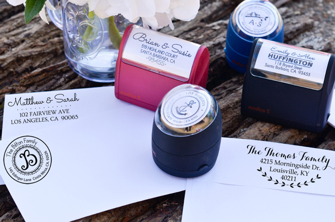 Custom wedding stamps from Stamp Nouveau