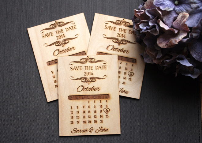 Handmade, wood burned save the date invitations from Tri~Elegance via Etsy