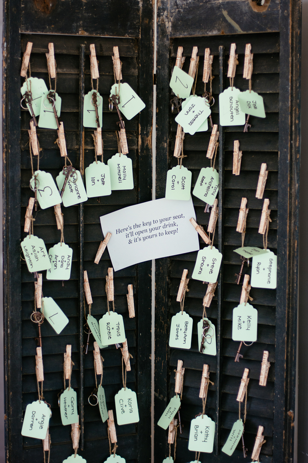 Vintage key tag escort card display