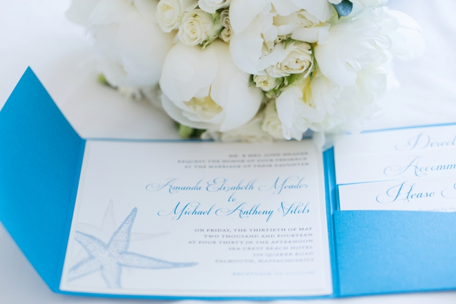 DIY Blue starfish wedding invitation
