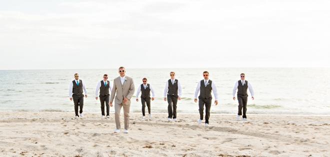 Stylish beach groomsmen