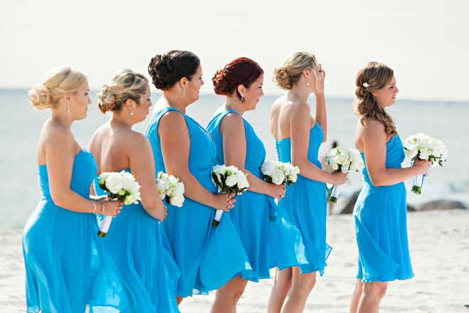 Beautiful blue bridesmaids