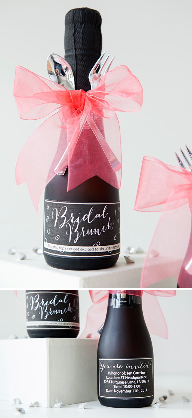 DIY mini-champagne bridal brunch invitations!