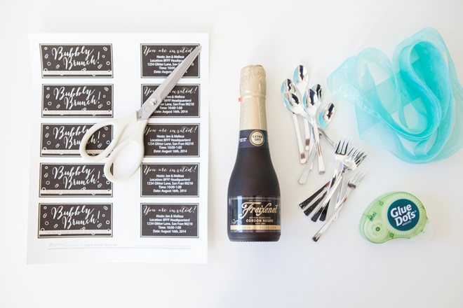 DIY mini-champagne brunch invitations!