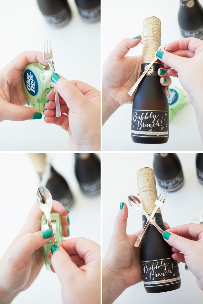 DIY - mini-champagne bottle brunch invitation!