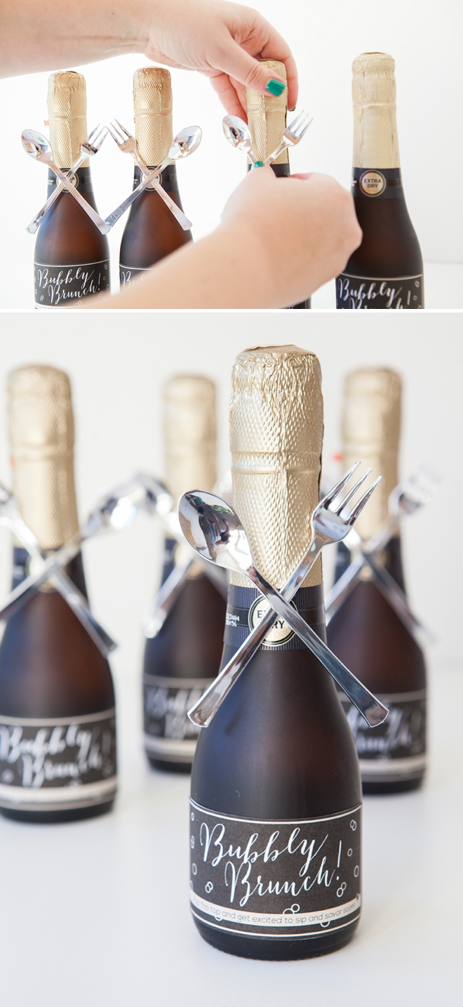 DIY - mini-champagne bottle bridal brunch invitation!