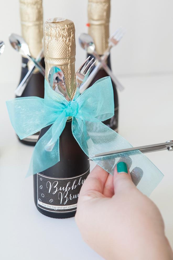 DIY - mini-champagne bottle bridal brunch invitation!
