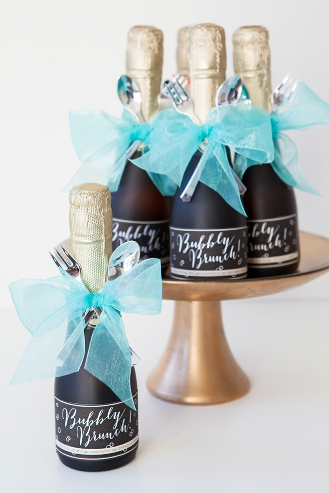 make these darling mini champagne brunch invitations With diy mini champagne bottle labels