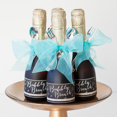 Make these darling mini-champagne brunch invitations!