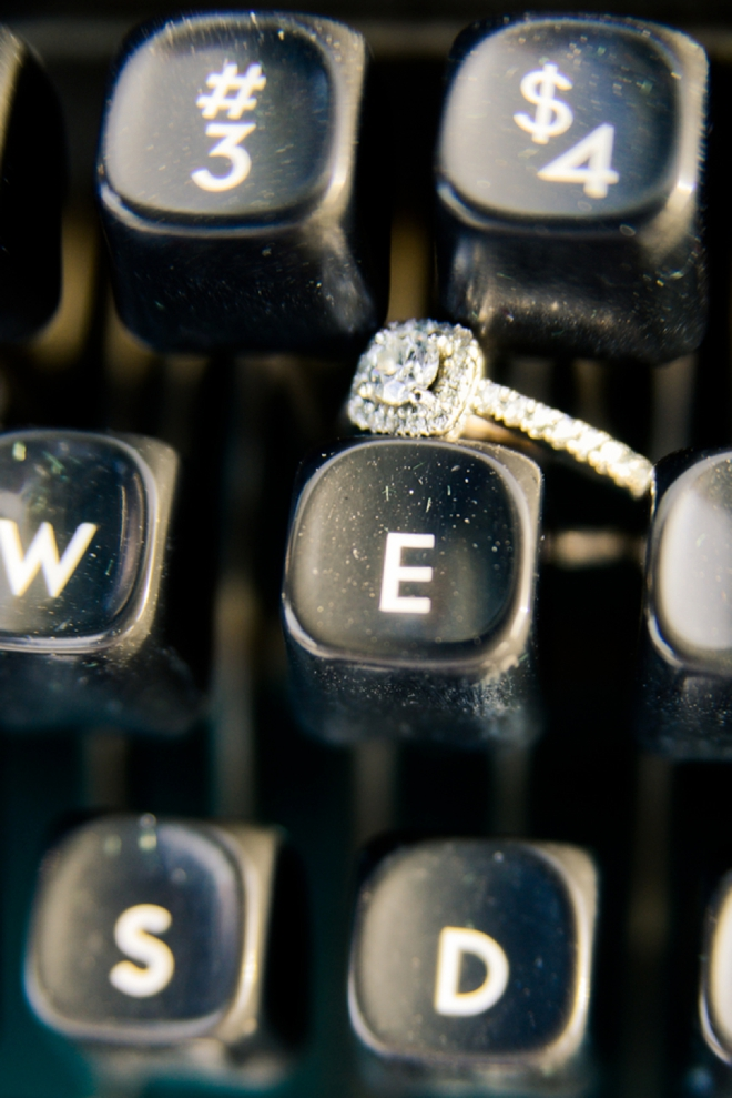 Wedding ring on typewritter