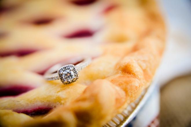 Wedding ring shot on cherry pie