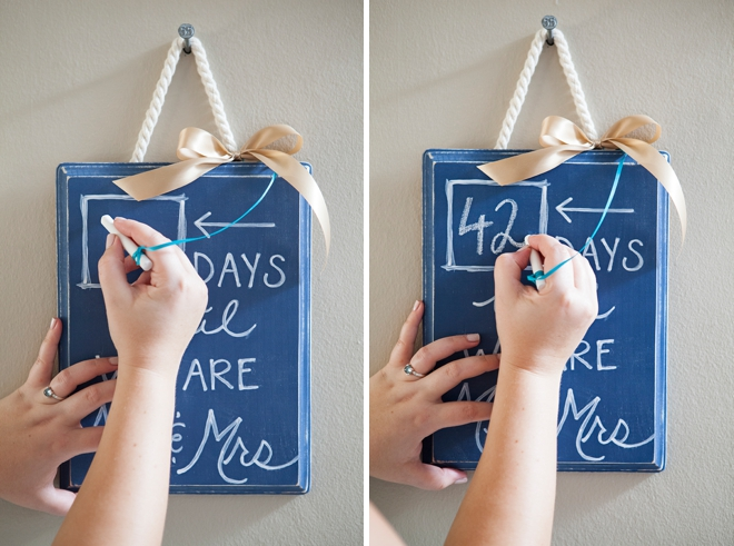 DIY Wedding Countdown Chalkboard Sign