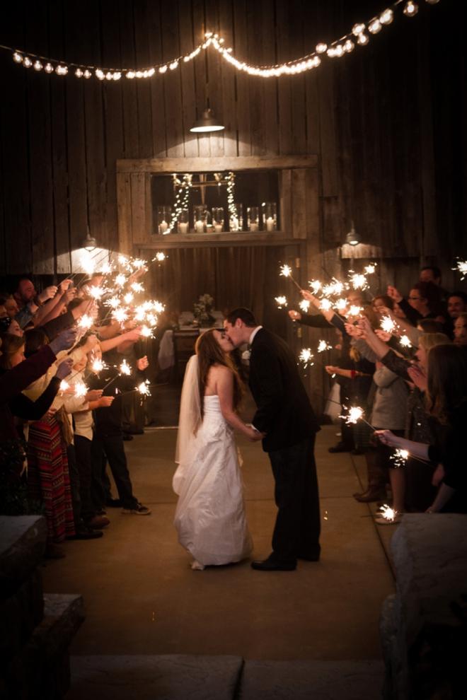 Rustic wedding sparkler exit