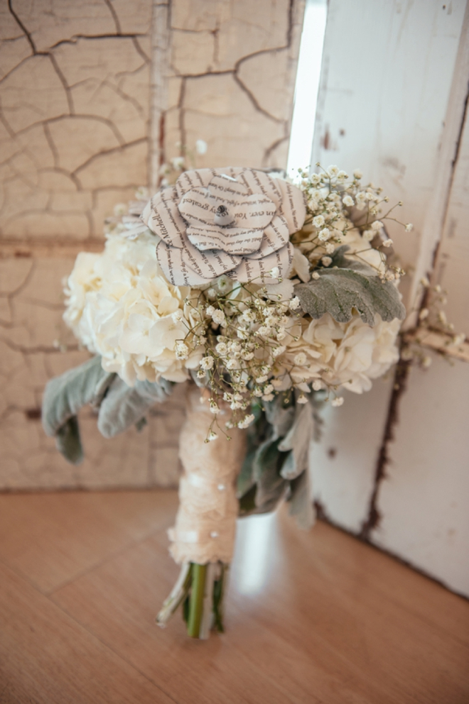 Wedding bouquet with paper flowers made out of the grooms letters
