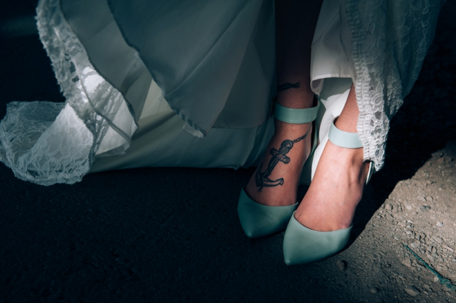 Brides mint wedding shoes