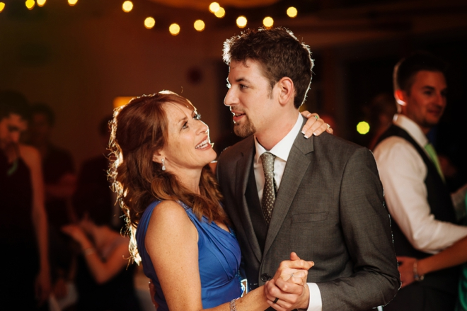 Groom and mother dancing