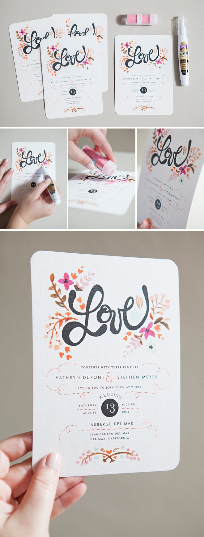 DIY - how to glitter store bought wedding invitations