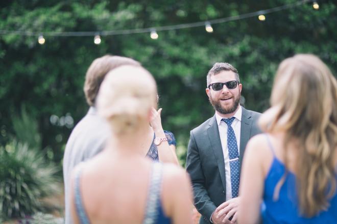 Garden wedding guests