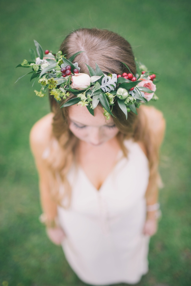 Gorgeous boho bride with flower crown