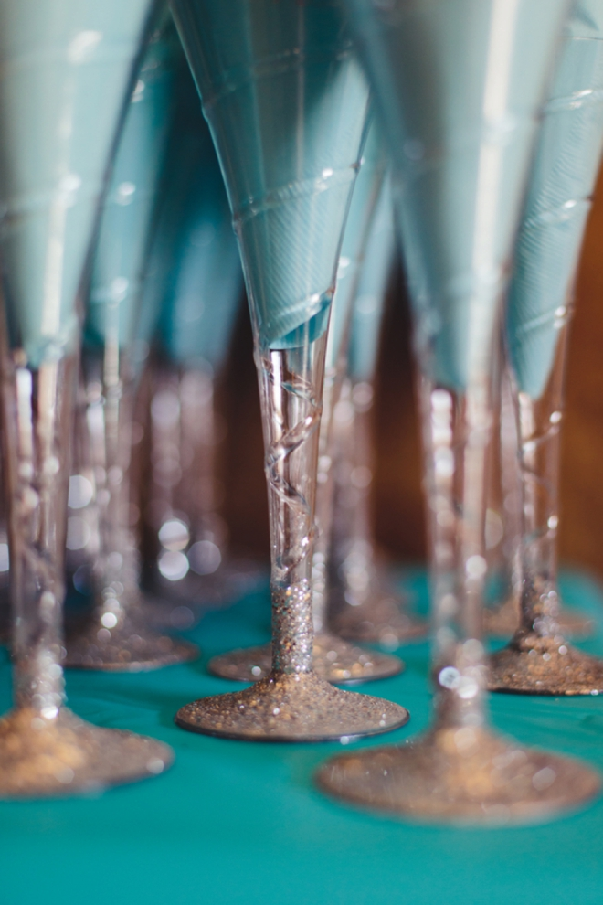 turquoise and glitter champagne glasses