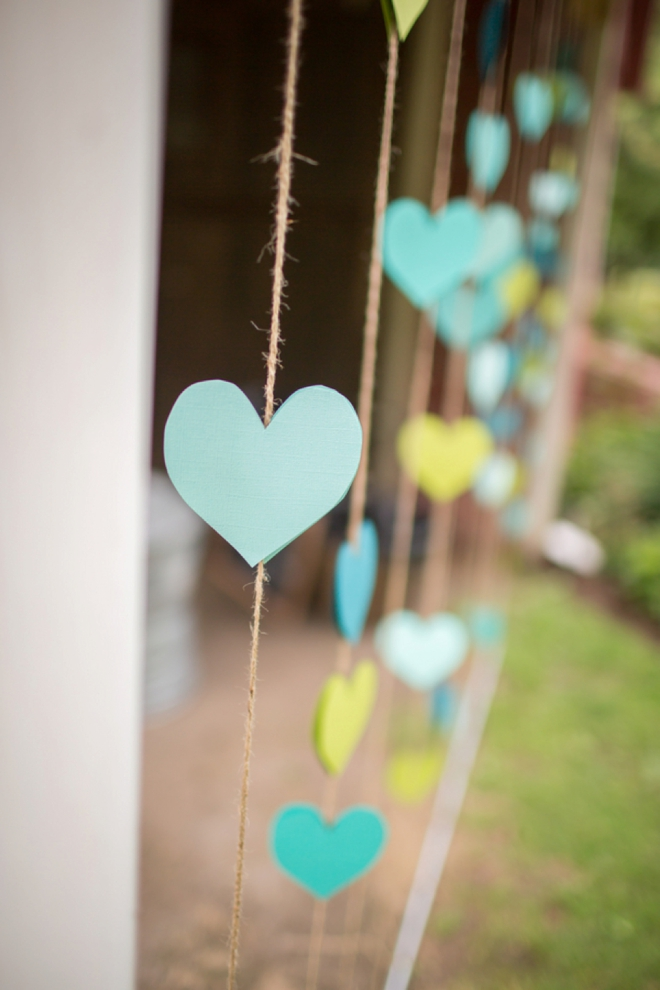 Paper hearts on a string
