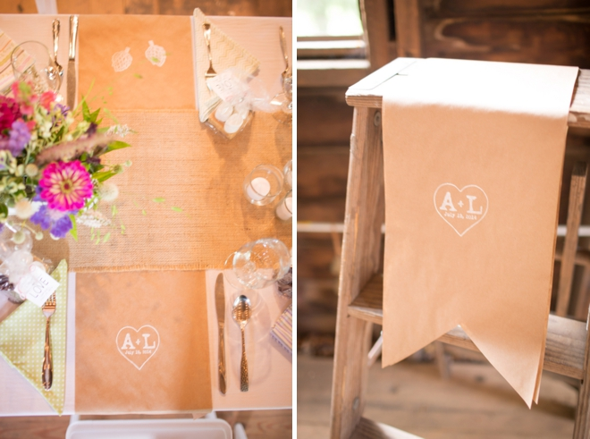 Kraft paper barn wedding placemats