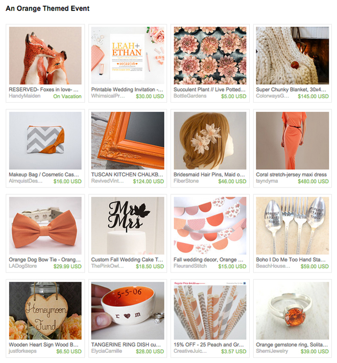Orange Etsy Wedding details
