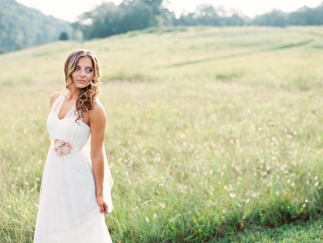 Champagne flower bridal sash