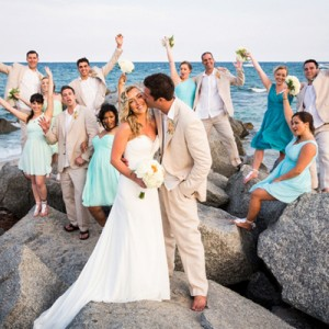 DIY turquoise beach wedding